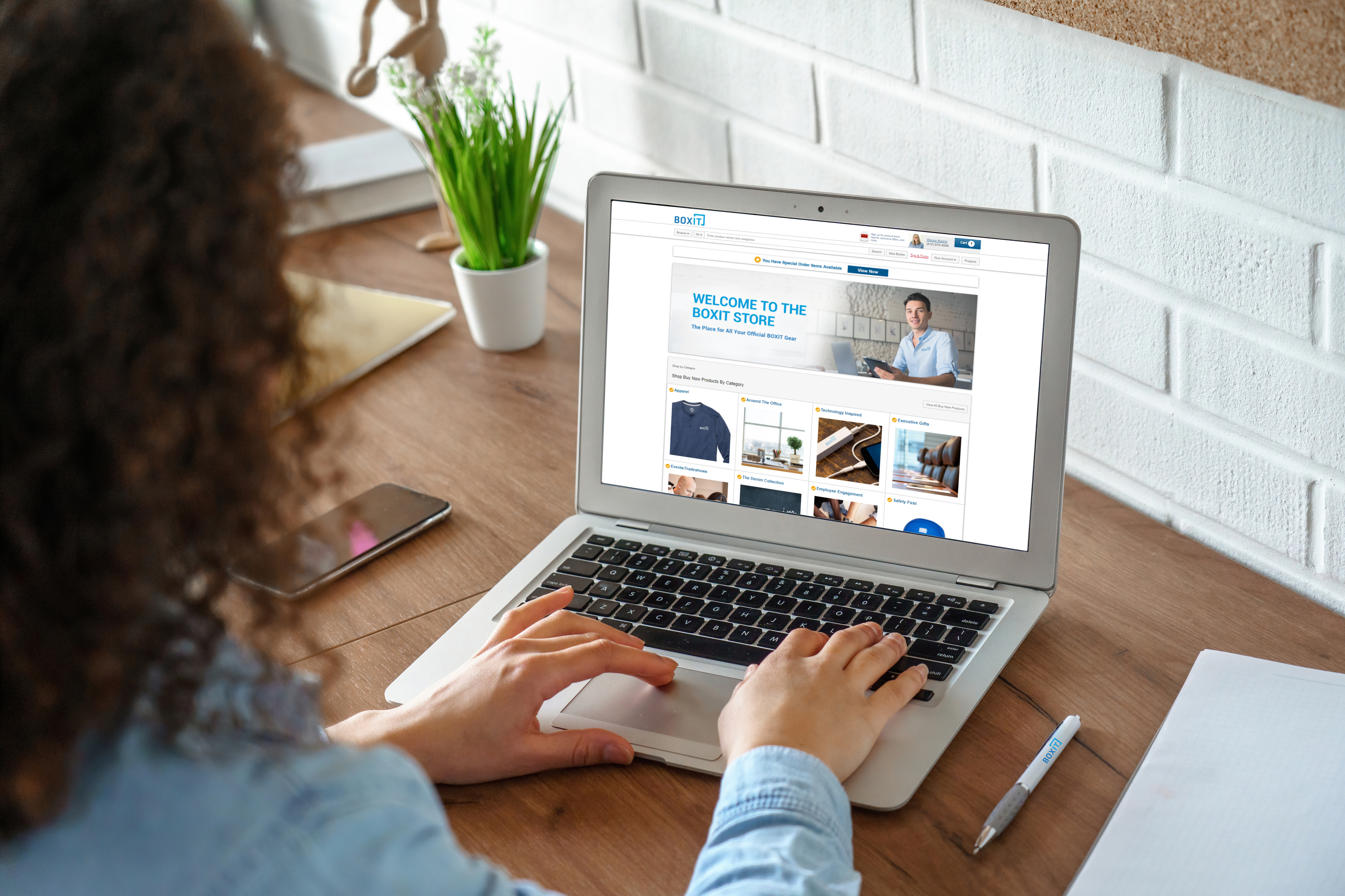 Person on computer viewing portal store